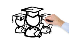 Hand drawing student Royalty Free Stock Image