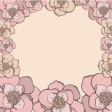 Hand drawing style pink pastel flowers frame.  Stock Images
