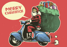 Hand drawing style of santa claus ride a scooter motorcycle Royalty Free Stock Photo