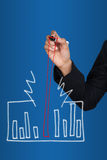 Hand drawing success graph Royalty Free Stock Photography