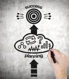 Hand drawing success plan Stock Photo