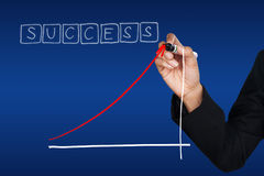 Hand drawing the success trend Stock Photos