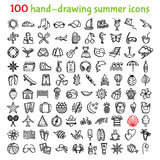 100 hand-drawing summer icons. Set of hand-drawing summer time icons for web and mobile. Vector illustration Royalty Free Stock Photo