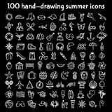 100 hand-drawing summer icons. Set of hand-drawing summer time icons for web and mobile. Vector illustration Stock Image