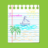 Hand-drawing summer  scene, vector. Style child`s drawing in the notebook Stock Photo