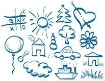 Hand drawing symbols set Royalty Free Stock Photography