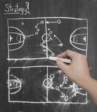 Hand drawing tactic scheme on board Stock Photo