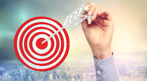 Hand drawing target. With chalk over skyline background Stock Photography