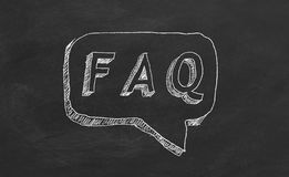 FAQ. Hand drawing text `FAQ` on black chalkboard vector illustration