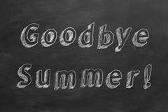 Goodbye Summer. Hand drawing text `Goodbye Summer!` on blackboard stock illustration
