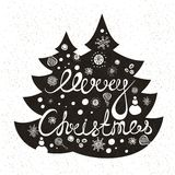 Hand drawing text for Merry Christmas. Christmas decorations, snow, fir-tree. Hand drawing text for Merry Christmas. Greeting card. Christmas decorations, snow Stock Photography