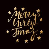 Hand drawing text for Merry Christmas. Golden letters. Gold stars. Greeting card Royalty Free Stock Photo