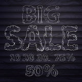 Hand drawing text for sales at aged wood Royalty Free Stock Photos