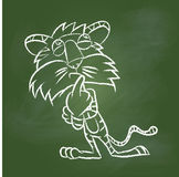 Hand drawing Tiger on Green board -Vector illustration Royalty Free Stock Images