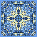 Hand drawing tile pattern in blue and yellow colors. Italian majolica style. Vector illustration. The best for your design, textiles, posters royalty free illustration