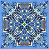 Hand drawing tile pattern in blue and yellow colors. Italian majolica style. Vector illustration. The best for your design, textiles, posters vector illustration