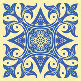Hand drawing tile pattern in  blue and yellow colors. Italian majolica style. Royalty Free Stock Image