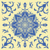 Hand drawing tile pattern in  blue and yellow colors. Italian majolica style. Royalty Free Stock Photos