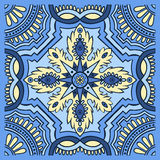 Hand drawing tile pattern in blue and yellow colors. Italian majolica style. Vector illustration. The best for your design, textiles, posters stock illustration