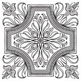 Hand drawing tile vintage black line pattern. Stock Photo