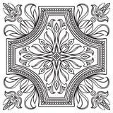 Hand drawing tile vintage black line pattern. Stock Photo