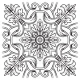Hand drawing tile vintage black line pattern. Stock Photos