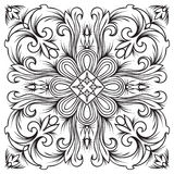 Hand drawing tile vintage black line pattern. Stock Image