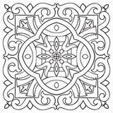 Hand drawing tile vintage black line pattern. Stock Photography