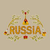 Hand drawing traditional symbols of Russia. Set of vector illustrations. Stock Image