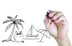 Hand drawing travel on the tropical beach Stock Images