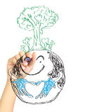 Hand drawing tree on earth Royalty Free Stock Photo