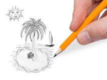 Hand drawing tropical island Royalty Free Stock Photo