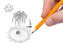 Hand drawing tropical island Stock Photos