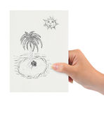 Hand with drawing tropical island Royalty Free Stock Photography