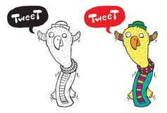 Bird Tweets. Hand drawing a tweeting bird. Colorful, b/w & speech bubbles are layered separately Royalty Free Stock Photo