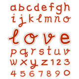 Hand drawing type font illustration eps 10. Alphabet fonts and numbers hand drawing style for valentine illustration eps 10 Stock Photo