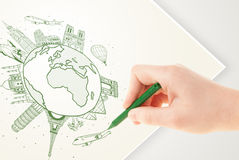 Hand drawing vacation trip around the earth with landmarks and c Stock Photos