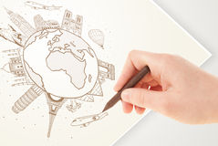 Hand drawing vacation trip around the earth with landmarks and c Royalty Free Stock Photography