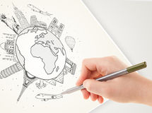 Hand drawing vacation trip around the earth with landmarks and c Stock Images
