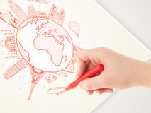 Hand drawing vacation trip around the earth with landmarks and c Stock Image
