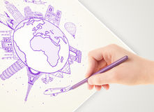 Hand drawing vacation trip around the earth with landmarks and c Stock Photo