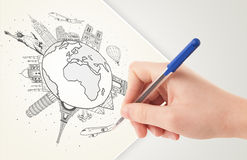 Hand drawing vacation trip around the earth with landmarks and c Royalty Free Stock Photo