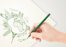 Hand drawing vacation trip around the earth with landmarks and c Royalty Free Stock Images