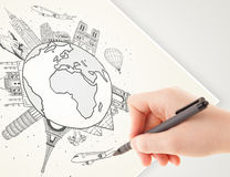 Hand drawing vacation trip around the earth with landmarks and c Stock Photography