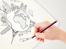 Hand drawing vacation trip around the earth with landmarks and c Royalty Free Stock Photos