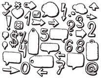 Hand drawing various symbols Stock Photography