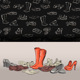 Hand drawing various types of different footwear in vector. Hand drawing various types of different footwear. Shoes icons sketch, male and female shoes, sandals Stock Image