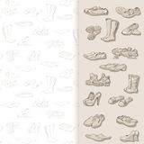 Hand drawing various types of different footwear in vector. Royalty Free Stock Photos