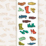 Hand drawing various types of different footwear in vector. Royalty Free Stock Photo