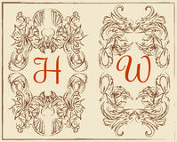 Hand-drawing vector elegant vintage frames and scroll elements. eps 10 Stock Photos